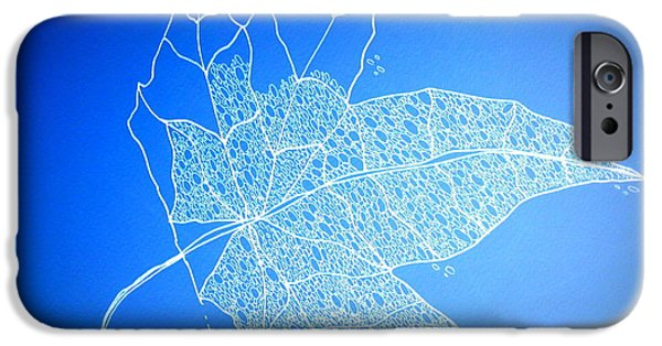 Catherine White Digital Art iPhone Cases - Leaf Study 1 iPhone Case by Cathy Jacobs