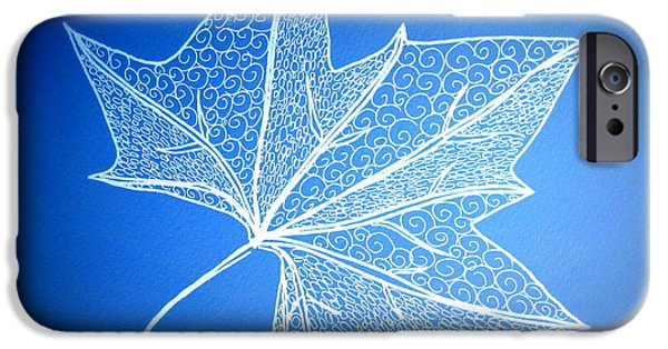 Catherine White Digital Art iPhone Cases - Leaf Study 2 iPhone Case by Cathy Jacobs