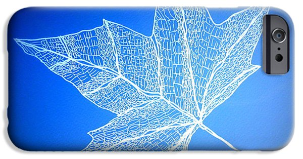 Catherine White Digital Art iPhone Cases - Leaf Study 3 iPhone Case by Cathy Jacobs