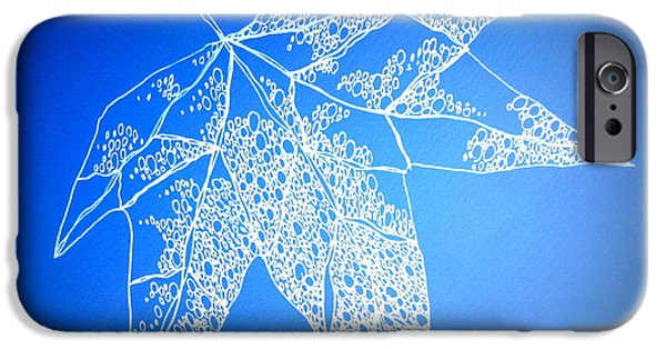 Catherine White Digital Art iPhone Cases - Leaf Study 4 iPhone Case by Cathy Jacobs
