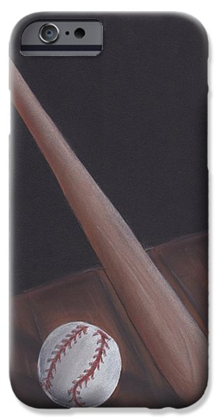 Baseball Pastels iPhone Cases - Leaning Baseball Bat iPhone Case by Kelly Mills