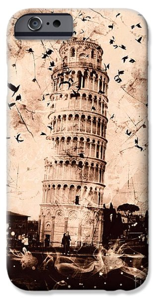 Epic iPhone Cases - Leaning Tower of Pisa Sepia iPhone Case by Marina McLain