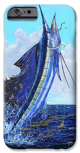 Sailfish Paintings iPhone Cases - Leap of Freedom Off0048 iPhone Case by Carey Chen