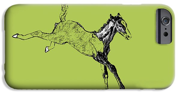 Drawings iPhone Cases - Leaping Foal iPhone Case by JAMART Photography
