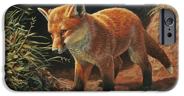 Fox Paintings iPhone Cases - Red Fox Pup - Learning iPhone Case by Crista Forest