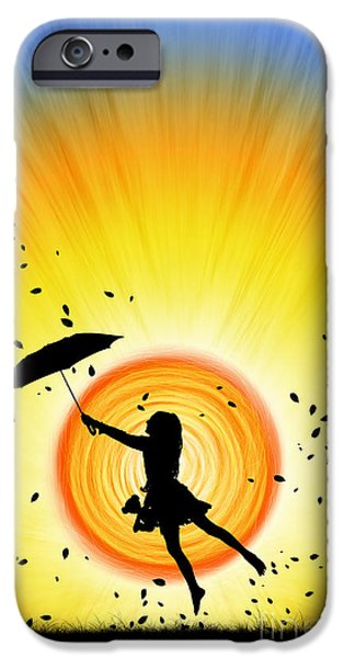 Umbrellas Digital Art iPhone Cases - Learning to Fly iPhone Case by Tim Gainey