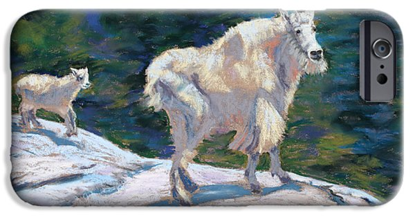 Fauna Pastels iPhone Cases - Learning to Walk on the Edge iPhone Case by Mary Benke