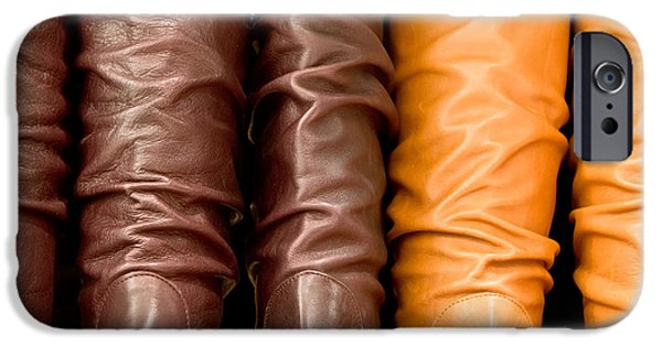 Cowboy Gear iPhone Cases - Leather boots iPhone Case by Tom Gowanlock