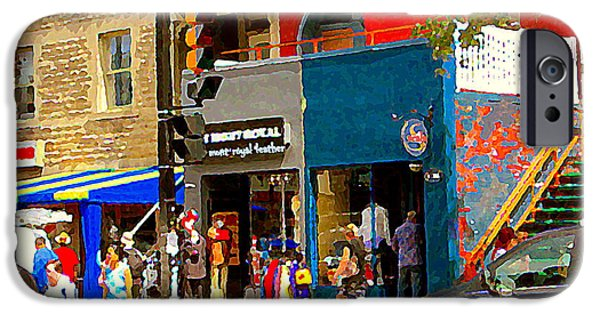 Store Fronts Paintings iPhone Cases - Leather Garments Cuir Monde Mont Royal Scala Pour Hommes Busy Montreal City Scene Carole Spandau  iPhone Case by Carole Spandau