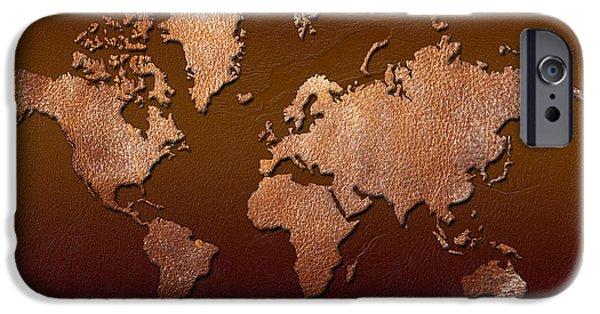 Different Worlds iPhone Cases - Leather World Map iPhone Case by Zaira Dzhaubaeva
