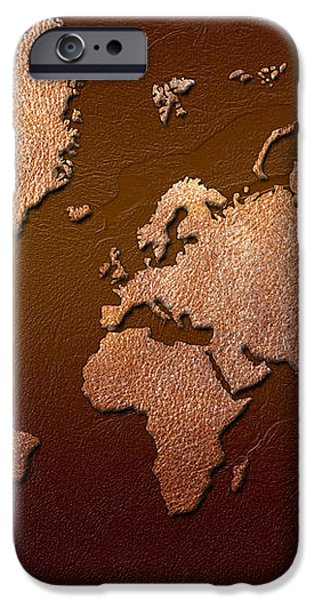 Leather World Map iPhone Case by Zaira Dzhaubaeva