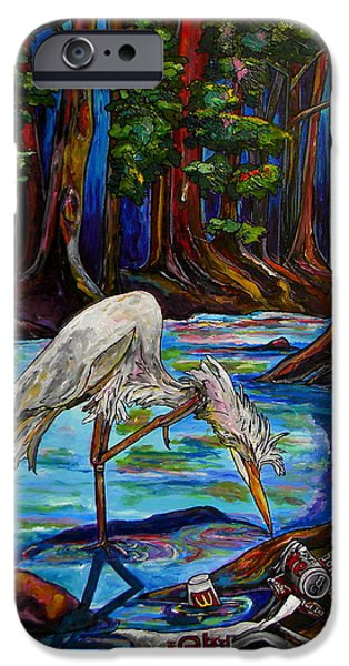 Nature Center Paintings iPhone Cases - Leave Only Footprints iPhone Case by Patti Schermerhorn