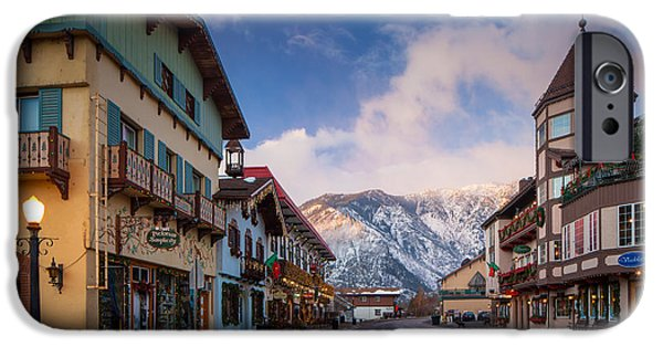 Streetlight Photographs iPhone Cases - Leavenworth Winter Street iPhone Case by Inge Johnsson