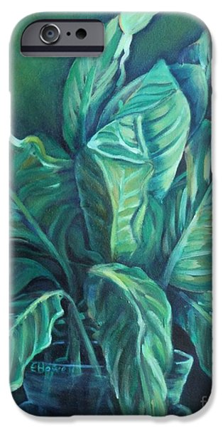 """indoor"" Still Life Paintings iPhone Cases - Leaves in a Vase iPhone Case by Ellen Howell"