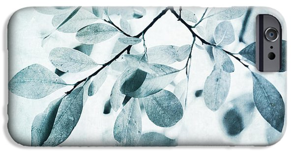 Botanical iPhone Cases - Leaves In Dusty Blue iPhone Case by Priska Wettstein