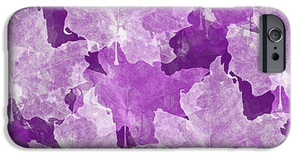Nature Abstracts iPhone Cases - Leaves In Radiant Orchid Panorama iPhone Case by Andee Design