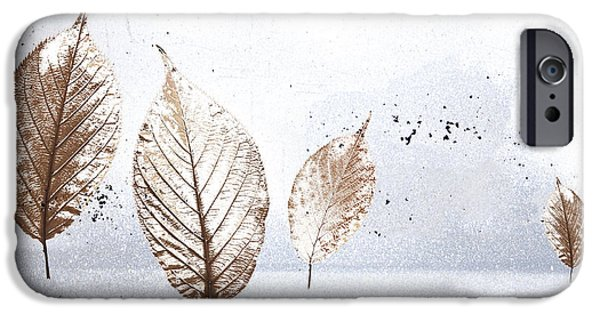 Wintry Digital iPhone Cases - Leaves in Snow iPhone Case by Carol Leigh