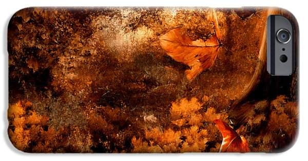 Autumn Woods iPhone Cases - Leaves of Gold iPhone Case by Lourry Legarde