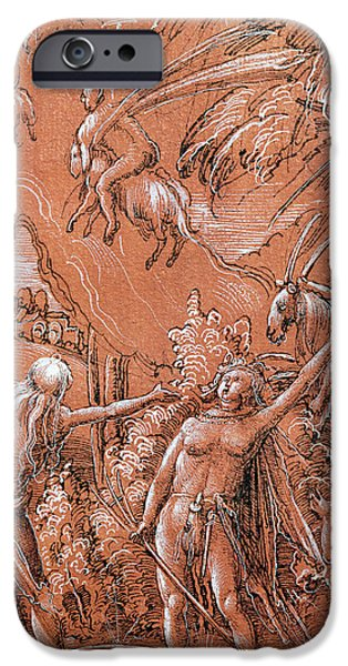 Animal Drawings iPhone Cases - Leaving for the Sabbath iPhone Case by Albrecht Altdorfer