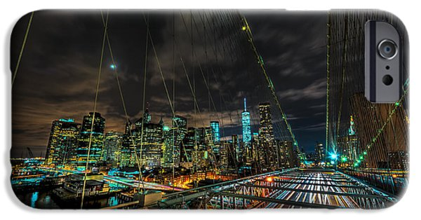 High Tower iPhone Cases - Leaving New York City via the Brooklyn Bridge iPhone Case by David Morefield