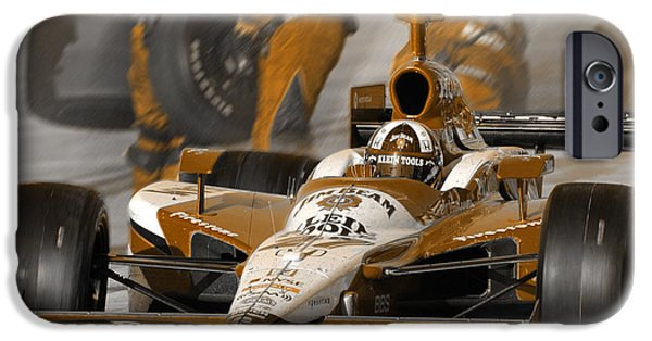 Indy Car iPhone Cases - Leaving Pits iPhone Case by Kevin Cable
