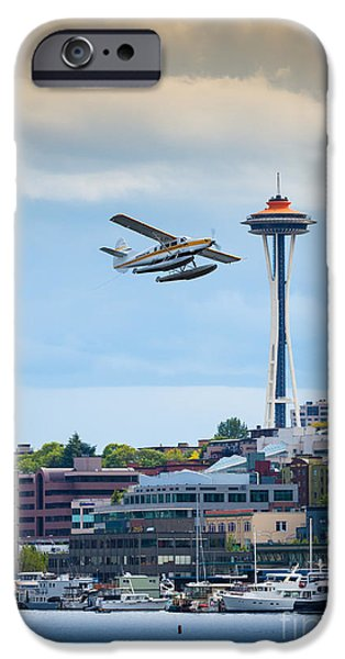 North American Aviation iPhone Cases - Leaving Seattle iPhone Case by Inge Johnsson