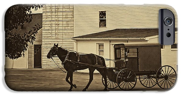 Amish Photographs iPhone Cases - Leaving the Farm iPhone Case by Priscilla Burgers