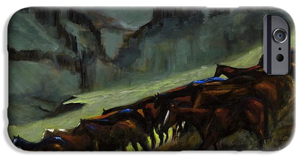 Art Of Horses iPhone Cases - Leaving The Mesa iPhone Case by Frances Marino