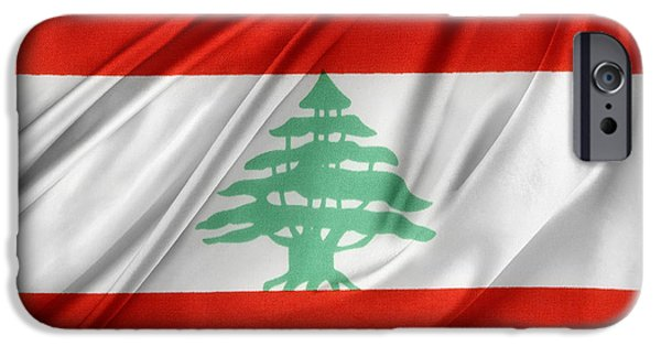Patriotism iPhone Cases - Lebanese flag iPhone Case by Les Cunliffe
