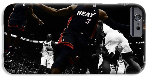 Dwyane Wade iPhone Cases - Lebron and D Wade Showtime iPhone Case by Brian Reaves