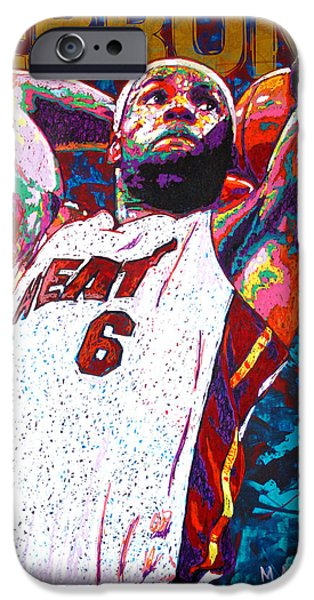 Olympic Gold Medalist iPhone Cases - LeBron Dunk iPhone Case by Maria Arango