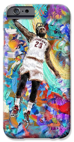 Allstar iPhone Cases - Lebron James 2 iPhone Case by Donald Pavlica