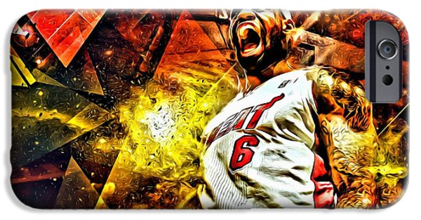 Lebron iPhone Cases - LeBron James Art Poster iPhone Case by Florian Rodarte