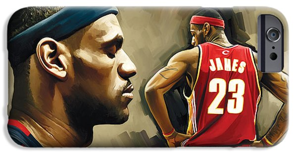 Lebron iPhone Cases - LeBron James Artwork 1 iPhone Case by Sheraz A