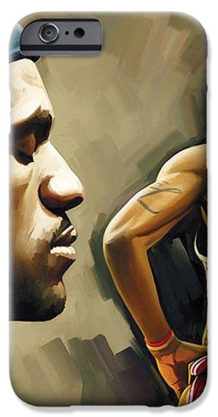LeBron James Artwork 1 iPhone Case by Sheraz A