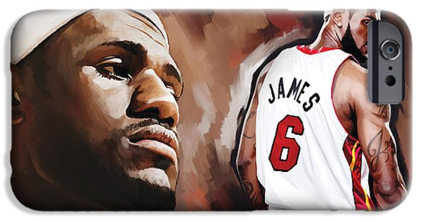 Lebron iPhone Cases - LeBron James Artwork 2 iPhone Case by Sheraz A