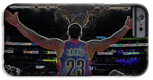 Nike iPhone Cases - Lebron James Chalk Toss Basketball Art Landscape Painting iPhone Case by Andres Ramos