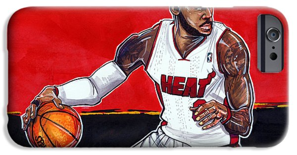 Lebron Drawings iPhone Cases - Lebron James iPhone Case by Dave Olsen