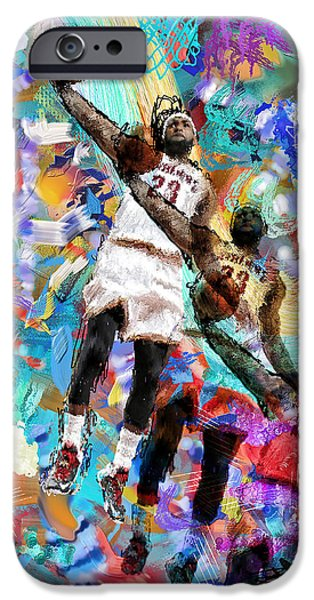 Allstar iPhone Cases - Lebron James iPhone Case by Donald Pavlica