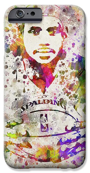 Lebron iPhone Cases - LeBron James in Color iPhone Case by Aged Pixel