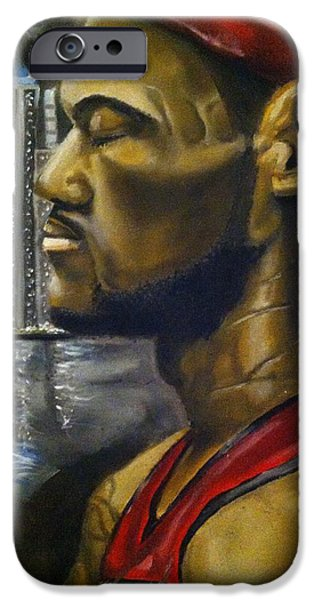 Lebron Drawings iPhone Cases - Lebron James iPhone Case by Larry Silver