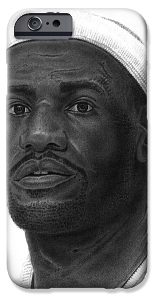 Lebron Drawings iPhone Cases - Lebron James iPhone Case by Marvin Lee