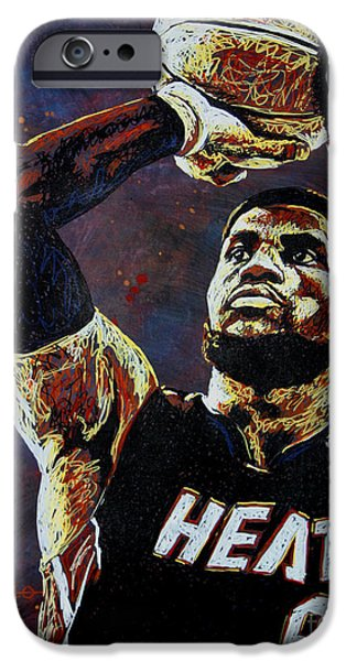 Hoops iPhone Cases - LeBron James MVP iPhone Case by Maria Arango