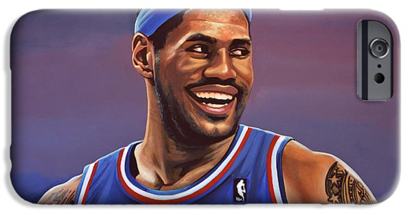 Summer Sports Paintings iPhone Cases - LeBron James  iPhone Case by Paul  Meijering