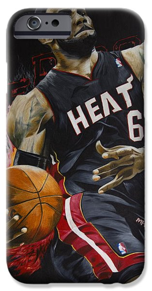 Lebron Mixed Media iPhone Cases - Lebron James iPhone Case by Ryan Doray