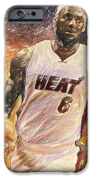 Bryant Drawings iPhone Cases - Lebron James iPhone Case by Taylan Soyturk