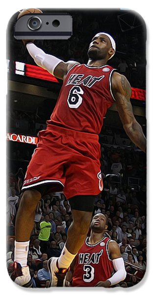Dr. J Paintings iPhone Cases - Lebron iPhone Case by Paint Splat