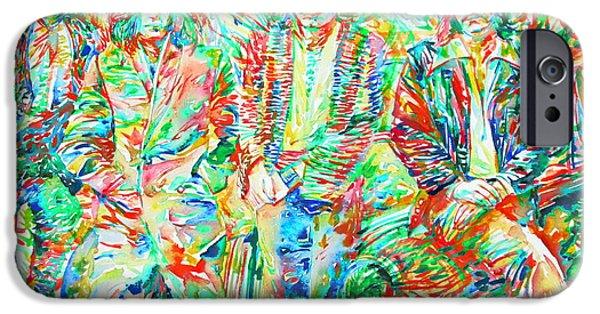 Robert Plant Paintings iPhone Cases - LED ZEPPELIN - watercolor portrait.1 iPhone Case by Fabrizio Cassetta
