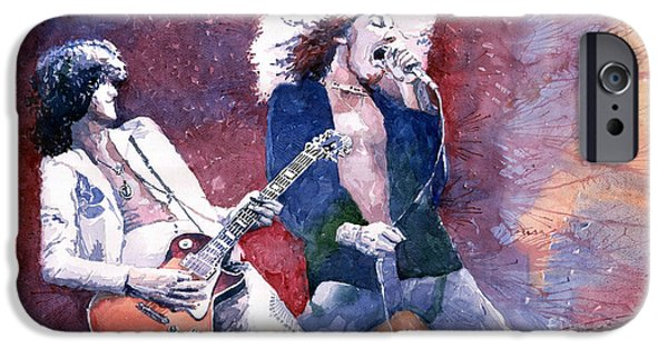 Emotion Paintings iPhone Cases - Led Zeppelin Jimmi Page and Robert Plant  iPhone Case by Yuriy  Shevchuk