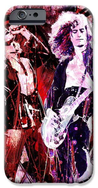 Mix Medium iPhone Cases - Led Zeppelin - Jimmy Page and Robert Plant iPhone Case by Ryan RockChromatic